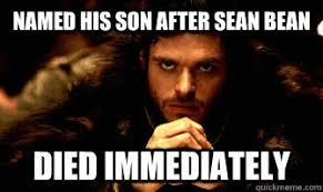 Sean Bean Memes - named his son after sean bean died immediately robb stark