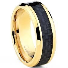 Mens Wedding Rings Black by Goldtone Plated Men U0027s Cobalt Wedding Band Ring With Black Carbon