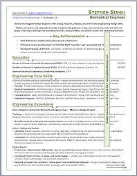 biomedical engineer resume sles