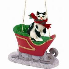 cat sleigh ornaments cat ornaments cat