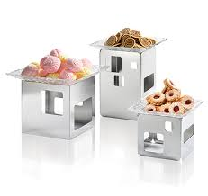 stainless steel square riser buffet displays risers