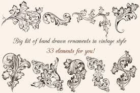 big set of engraved ornaments illustrations creative market