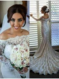 shouler mermaid long sleeve button back lace wedding dress with