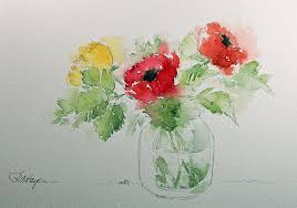 Best Flower Food Watercolor Paintings By Roseann Hayes Flowers In Baby Food Jar