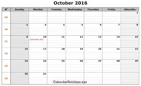 october 2016 pdf calendar calendartemplate pdfcalendar