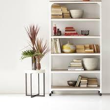 west elm white bookcase bone side table west elm