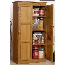 Wooden Kitchen Pantry Cabinet Varnished Oak Wood Kitchen Pantry Cabinet With Swing Doors Of