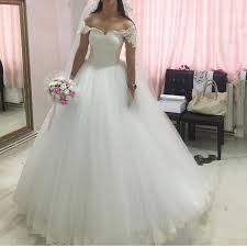 princess ball gown wedding dresses off shoulder vintage lace puffy