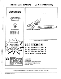 craftsman chainsaw 358 351080 user guide manualsonline com