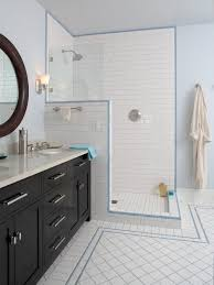 Gray Subway Tile Bathroom by Subway Tile Shower With Accent Houzz