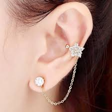 earring with chain to cartilage cz flower ear cuff chain clip left cartilage ear wrap cuff