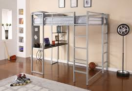 gray metal loft bunk bed with desk on the one side decofurnish