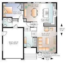 bedroom split level house plan kitchen with large kitchen island in