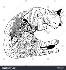 sleeping cat decorated ornaments stock vector 292039268