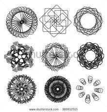set spirograph design 9 elements vector stock vector 54997582