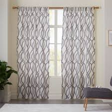 White And Grey Curtains Cotton Canvas Scribble Lattice Curtains Set Of 2 Feather Gray