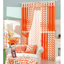 Red And White Striped Curtain Modern Brief Ready Made Orange And White Striped Chevron Curtains