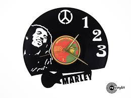 bob marley clock vinyl record clock by revinylit