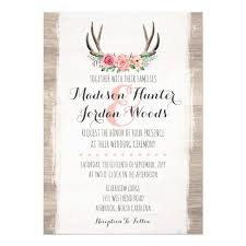 formal invitations floral antlers rustic wedding personalized formal card zazzle