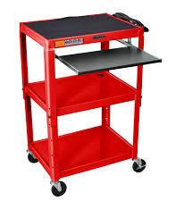 Adjustable Height Workstation Desk by Luxor Furniture Avj42kb Adjustable Compact Steel Cart Computer Cart