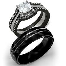 black wedding rings his and hers wedding rings tungsten engagement rings for his and hers