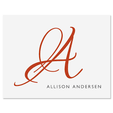 personalized initial note cards current catalog