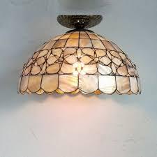 shell ceiling light shell made flower pattern 15 inch semi flush mount ceiling light