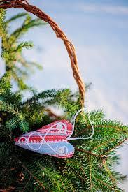 Fabric Heart Decorations Christmas Handmade Blue And Red Fabric Heart Decorations And Gift