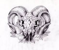 aries head tattoo design with black ink