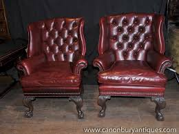 victorian leather chesterfield arm chairs wingback youtube