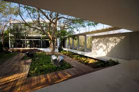 apartments house with courtyard modern house among trees design