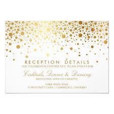 wedding reception card faux gold foil confetti wedding reception card zazzle
