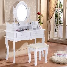 makeup vanity table with drawers costway rakuten costway white vanity jewelry makeup dressing