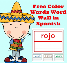 free spanish lessons for kids free color words wall words in