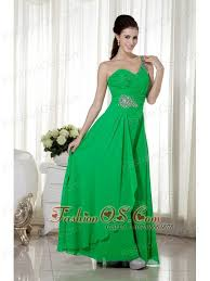 green empire one shoulder ankle length chiffon beading prom dress