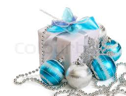 gift box with decorations on white background stock