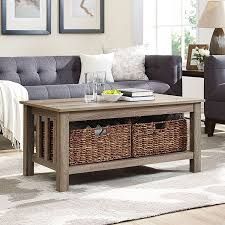 walker edison furniture co 40 inch wood storage coffee table with