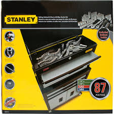 stanley tool chest cabinet stanley 85 piece mechanics tool set and rolling toolbox walmart com