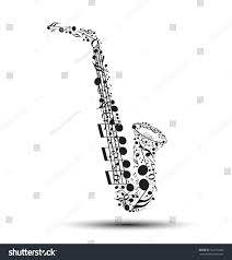decoration musical notes shape saxophone stock vector 142751440