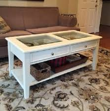 Display Coffee Table Solid Wood Glass Top Shadow Box Display Coffee Table 2 Drawers