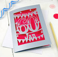 personalised papercut 60th birthday card by pogofandango