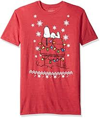 peanuts christmas t shirt peanuts men s snoopy dog house lights christmas