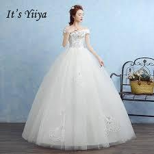 robe de mari e pas cher princesse livraison gratuite coréenne style bateau cou dentelle bling