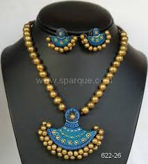 new fashion jewelry necklace images Terracotta jewelry necklace sets with earrings handmade from clay JPG