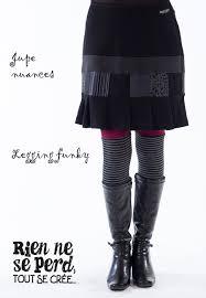 Upcycle Leggings - jupe nuances et legging funky bordeau de rien ne se perd tout se