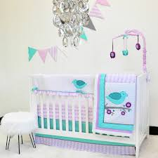 Pink And Teal Crib Bedding by Pam Grace Creations Lovebird 10 Piece Crib Bedding Set Lavendar