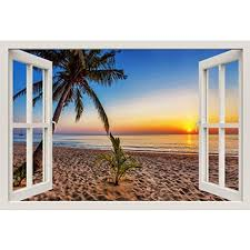 window frame mural tropical beach at sunset huge size peel and window frame mural tropical beach at sunset huge size peel and stick fabric illusion 3d wall decal photo sticker by royalwallskins
