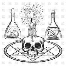 sketch of skull with candle alchemy occult elements vector