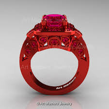 Ruby Wedding Rings by Art Masters Classic 14k Red Gold 2 0 Ct Pigeoin Blood Ruby