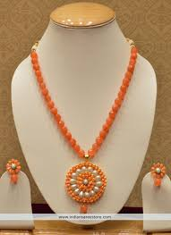 orange necklace sets images Traditional indian orange necklace set with pearls and earrings jpg
